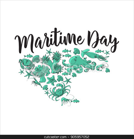 Maritime day. Sea animals. Vector images. stock vector clipart, Maritime day. Sea animals isolated on white background. Vector image crab, fish, starfish, shrimp, coral. Marine stickers by VeYe