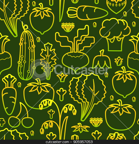 Vegetables seamless pattern. Vector illustration. stock vector clipart, Vegetables seamless pattern. Linear image of carrot, cucumber,  tomato, broccoli and salad isolated on green background. Vector illustration. by VeYe