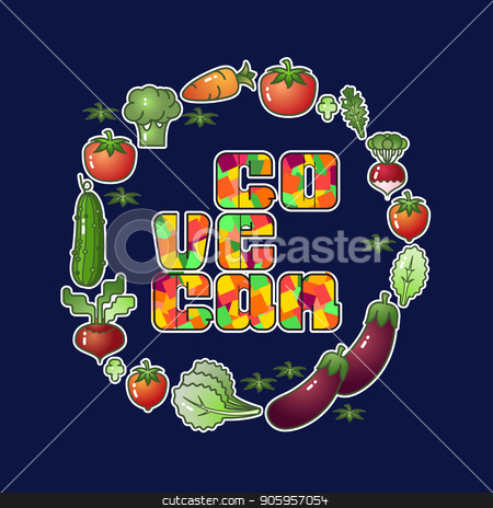 Go vegan. Vector Vegetables isolated on blue background. stock vector clipart, Go vegan. Vegetables isolated on blue background. Vector image zucchini, aubergine, tomato, carrots, beets and broccoli. Vegan stickers by VeYe