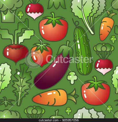 Vegetable isolated on green background. Vector Seamless pattern. stock vector clipart, Vegetables seamless pattern. Carrot, cucumber,  avocado, egg and salad isolated on green background. by VeYe
