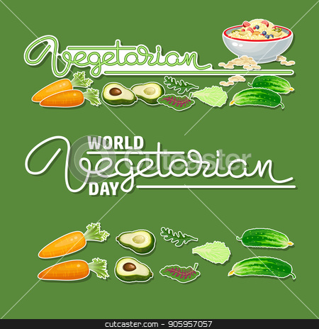 World Vegetarian Day. Handwritten word and vegetable icons. stock vector clipart, World Vegetarian Day. Handwritten word Vegetarian, carrot, avocado, cucumber, salad icon. Porridge and vegetables isolated on green background. Set of vegan stickers. Vector illustration. by VeYe