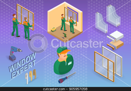 Window installing service. Isometric concept. Worker, equipment. stock vector clipart, Window installing service. Isometric interior repairs concept. Worker, equipment and items isometric icon. Builder in uniform, professional tools, window, sill. Vector flat 3d illustration. by VeYe
