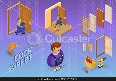 Door installing service. Isometric concept. Worker, equipment. stock vector clipart, Door installing service. Isometric interior repairs concept. Worker, equipment and items isometric icon. Builder in uniform, professional tools, door leaf. Vector flat 3d illustration. by VeYe