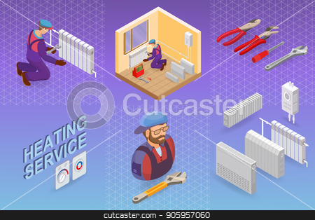 Heating service. Isometric concept. Worker, equipment. stock vector clipart, Heating service. Isometric interior repairs concept. Worker, equipment and items isometric icon. Builder in uniform, professional tools, radiators. Vector flat 3d illustration. by VeYe