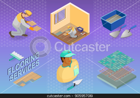 Isometric interior repairs concept. The Repairer is laying tile. stock vector clipart, Home repair isometric template. Installing tiles on insulated floor. Repairer is laying tile. Builder in uniform holds a tile. Worker, tools and fragment of interior. Vector flat 3d illustration. by VeYe