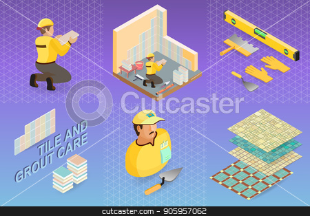 Isometric interior repairs concept. Tiler is tying colorful tile stock vector clipart, Isometric interior repairs concept. Tiler is tying colorful tile on the corner of the premises. Builder in uniform holds a  tile. Worker, tools and fragment of interior. Vector flat 3d illustration. by VeYe