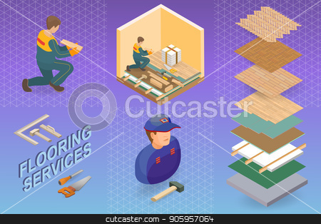 Isometric interior repairs concept. Repairer is laying parquet stock vector clipart, Home repair isometric template. The Repairer is laying parquet on prepared lined insulated base of the premises. Builder in uniform holds a wooden parquet. Parquet service. Vector flat 3d illustration by VeYe