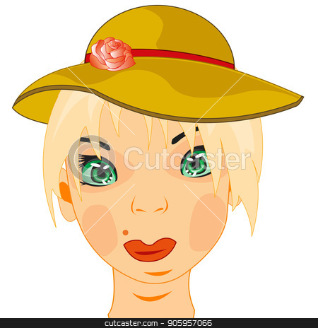 Girl in hat stock vector clipart, Portrait of the young girl in fashionable hat by cobol1964