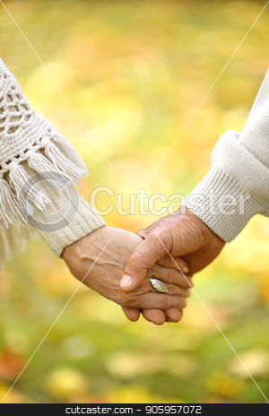 Elderly couple holding hands stock photo, elderly couple holding hands in autumn park by Ruslan Huzau