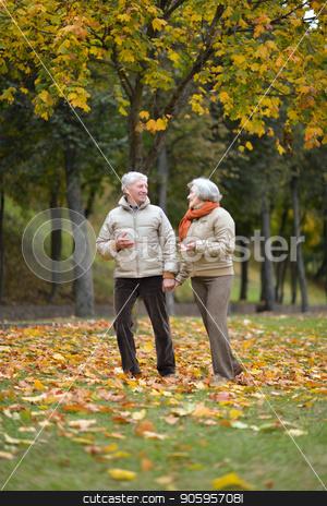 Senior couple posing stock photo, happy senior couple posing in autumn park by Ruslan Huzau