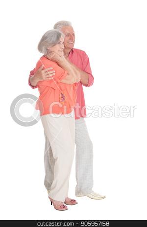 portrait of  senior couple posing  stock photo, portrait of  senior couple posing  isolated on white background by Ruslan Huzau