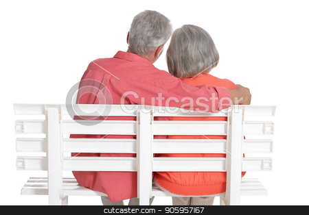 senior couple posing  isolated stock photo, senior couple posing  isolated on white background by Ruslan Huzau
