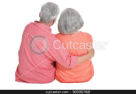 rear view of senior couple hugging stock photo, rear view of senior couple hugging  isolated on white background by Ruslan Huzau