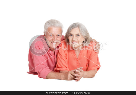 portrait of  senior couple posing  stock photo, portrait of  senior couple posing  isolated on white background by Ruslan Huzau