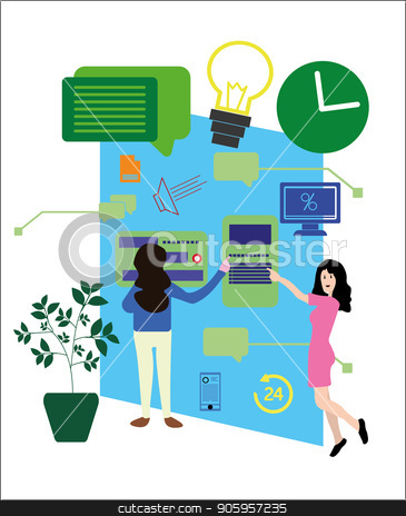 Vector illustration, a flat style. Concepts of web page design and development of mobile websites, people are working on the creation of a website, applications, information transfer stock vector clipart, Vector illustration, a flat style. Concepts of web page design and development of mobile websites, people are working on the creation of a website, applications, information transfer. by Sergiy Artsaba