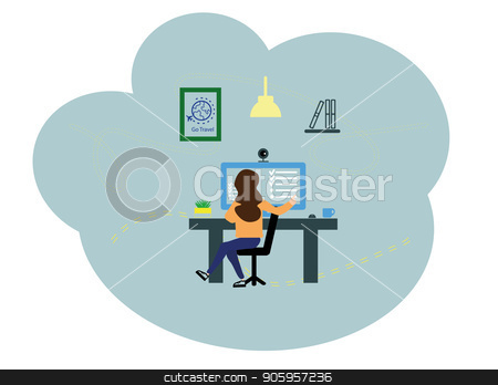 Vector illustration, flat style. Girl online assistant at work, promotion in the network, manager at remote work. A woman works behind a computer stock vector clipart, Vector illustration, flat style. Girl online assistant at work, promotion in the network, manager at remote work. A woman works behind a computer. by Sergiy Artsaba