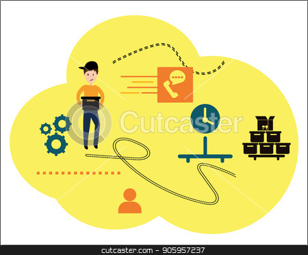 Vector illustration, a flat style. The main stages of delivery of goods. E-mails robots courier. Online orders through the Internet stock vector clipart, Vector illustration, a flat style. The main stages of delivery of goods. E-mails robots courier. Online orders through the Internet. by Sergiy Artsaba