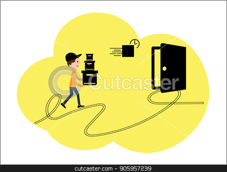 Vector illustration, a flat style. Internet shops, delivery to the door. Character of employees of various delivery processes, cartoon design stock vector clipart, Vector illustration, a flat style. Internet shops, delivery to the door. Character of employees of various delivery processes, cartoon design. by Sergiy Artsaba