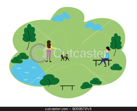 People who enjoy leisure time in the park, flat design style vector graphic illustration set. Public park concept banner with characters. Can use for web banner, infographics, hero images stock vector clipart, People who enjoy leisure time in the park, flat design style vector graphic illustration set. Public park concept banner with characters. Can use for web banner, infographics, hero images. by Sergiy Artsaba