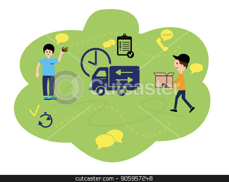 Vector illustration, flat style, various shops, discounts, purchase of goods and gifts, the concept of purchase and fast delivery of goods at home courier. Online orders through the Internet stock vector clipart, Vector illustration, flat style, various shops, discounts, purchase of goods and gifts, the concept of purchase and fast delivery of goods at home courier. Online orders through the Internet. by Sergiy Artsaba