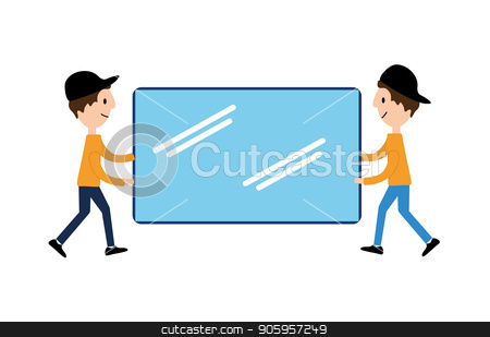 Vector flat illustrations, online shopping, buying and selling, banner, presentation, social media. When receiving a check on the account, an online store. Delivery to the door. Carefully brittle stock vector clipart, Vector flat illustrations, online shopping, buying and selling, banner, presentation, social media. When receiving a check on account, an online store. Delivery to the door. Carefully brittle glass by Sergiy Artsaba