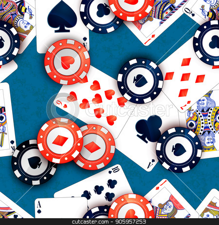 Casino chips and poker cards on blue table, seamless pattern stock vector clipart, Bright casino chips and poker cards on blue table, seamless pattern by Evgeny