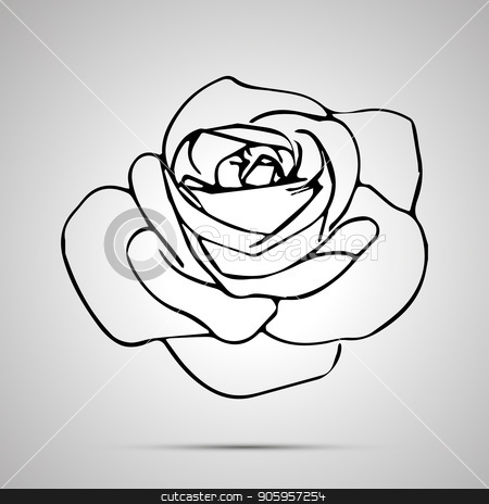 Cute outline rose bud, simple black icon stock vector clipart, Cute outline rose bud, simple black icon with shadow by Evgeny