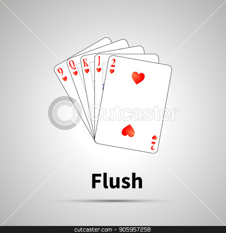 Flush poker combination with shadow stock vector clipart, Flush poker combination with shadow on gray by Evgeny