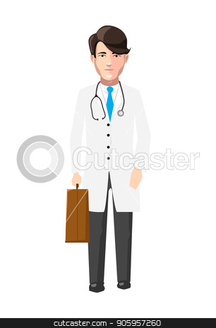 Doctor in white robe with medicine case and stroboscope, flat character on white stock vector clipart, Doctor in white robe with medicine case and stroboscope, flat character isolated on white by Evgeny