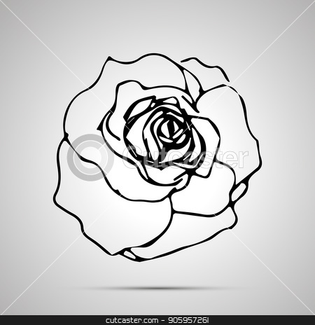 Detailed rosebud, simple black icon stock vector clipart, Detailed rosebud, simple black icon with shadow by Evgeny