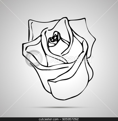 Cute outline rosebud, simple black icon stock vector clipart, Cute outline rosebud, simple black icon with shadow by Evgeny