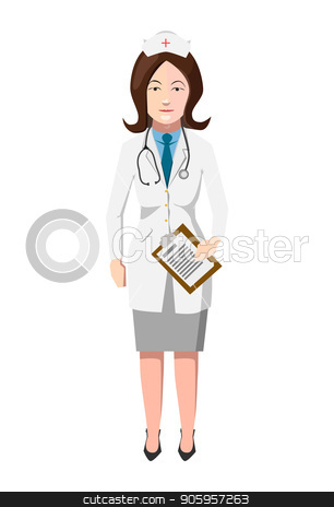 Doctor in white robe with stroboscope, flat woman character on white stock vector clipart, Doctor in white robe with stroboscope, flat woman character isolated on white by Evgeny