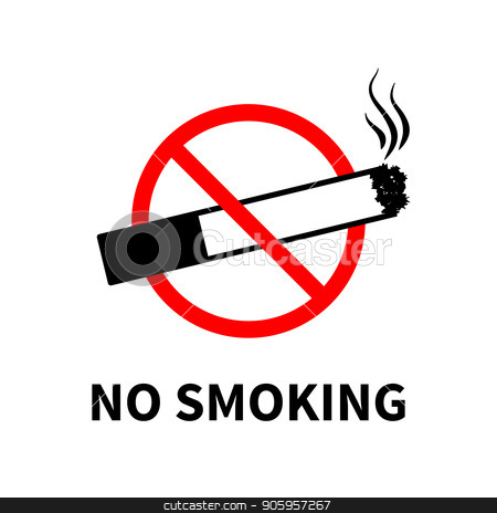 No smoking forbidden sign, black cigarette with smoke on white stock vector clipart, No smoking forbidden sign, black cigarette with smoke isolated on white by Evgeny