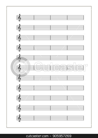 White music sheet with note grid with treble clef on white stock vector clipart, White music sheet with note grid with treble clef isolated on white by Evgeny