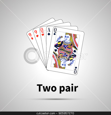 Two pair poker combination with on gray stock vector clipart, Two pair poker combination with shadow on gray by Evgeny