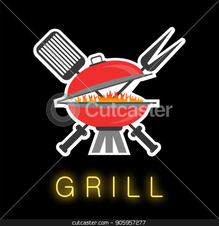Barbeque Colored Icon stock vector clipart, Barbeque Colored Icon Isolated on Black Background by valeo5