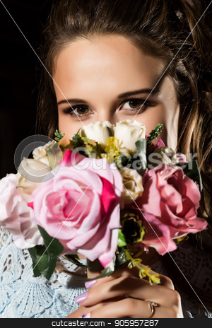 happy young woman with pink flowers bouqet on dark background. stock photo, happy young woman with pink flowers bouqet on dark background. free space for your text. by Alexander