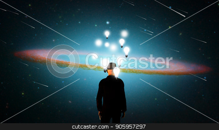 Big Ideas stock photo, Surreal composition. Man in suit stands before vivid universe. Lightbulbs represents thoughts and ideas. 3D rendering by Bruce Rolff