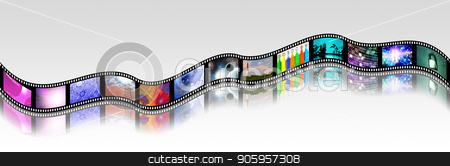 Bright Footage stock photo, Film strip of surreal and abstract footage. 3D rendering by Bruce Rolff