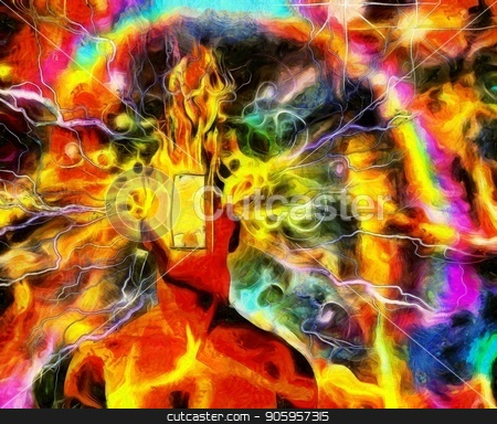 Burning mind stock photo, Surreal painting. Burning man's head with open door instead of face and lightnings. Colorful background with rainbow. by Bruce Rolff