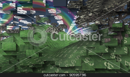 Land of Wealth stock photo, Surreal digital art. Landscape with currency elements. Trees with dollars banknotes instead of leaves. Clouds in shape of dollars sign. Rainbow in the sky. by Bruce Rolff