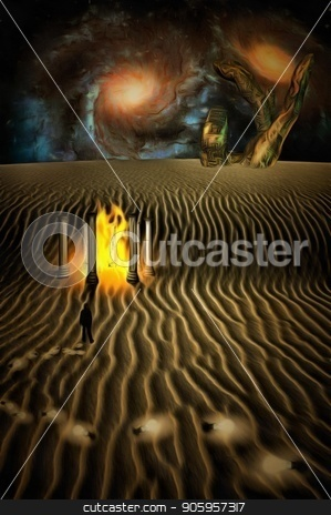 Where ideas leads stock photo, Surreal digital art. White desert planet with Temple of fire. Man in suit is losing light bulbs. Giant stone hand and colorful galaxies at the horizon. Light bulbs symbolizes ideas or thoughts. by Bruce Rolff