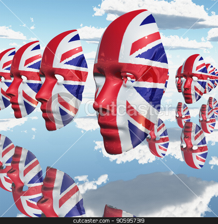 Great Britain stock photo, Surreal digital art. Woman's masks in Great Britain national colors hovers in the sky. by Bruce Rolff