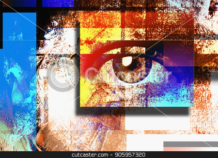 Art Sight stock photo, Surreal digital art. Human's eye. Mondrian style. by Bruce Rolff