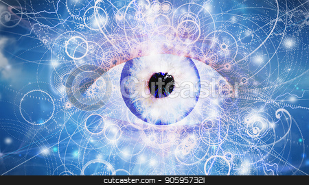 Eye of God stock photo, Surreal digital art. Blue giant eye in the cloudy sky. by Bruce Rolff