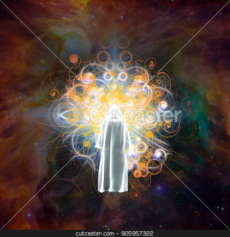 Meeting with God stock photo, Surreal digital art. Figure in white cloak stands before bright light in colorful universe. by Bruce Rolff