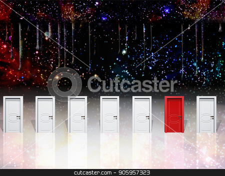 Choice stock photo, Surreal digital art. Seven white door with one red door. by Bruce Rolff