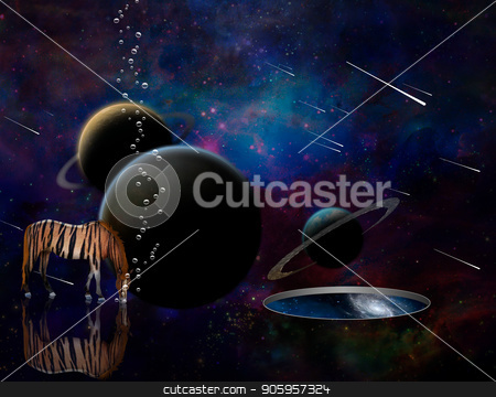 Meteor shower stock photo, Surreal 3D rendering. Exosolar planets and meteor shower. Striped horse and wormhole to another dimension. by Bruce Rolff