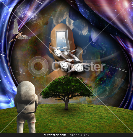 Faith and science stock photo, Surrealism. Flow of Time through space. Astronaut in the green field. Naked man with wings represents angels. 3D rendering. by Bruce Rolff