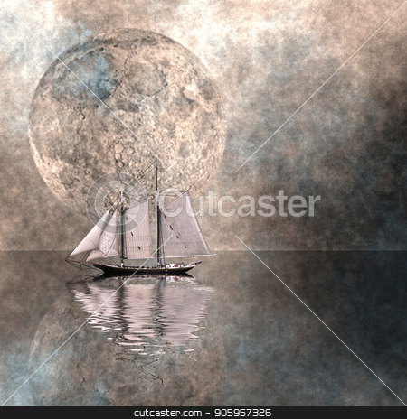 Moon Sailing stock photo, Ancient sail ship in surreal ocean. Giant moon in the sky by Bruce Rolff
